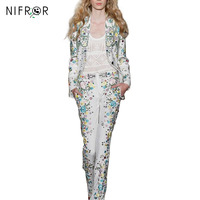 High Quality 2018 Designer Runway Embroidery Suit Set Women's 2 Piece Noble Tops + Print Flower pants Suit