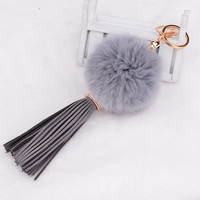 Brand Crystal Leather Tassel Rabbit Fur Ball Keychain Strap Charm Handbag Accessories