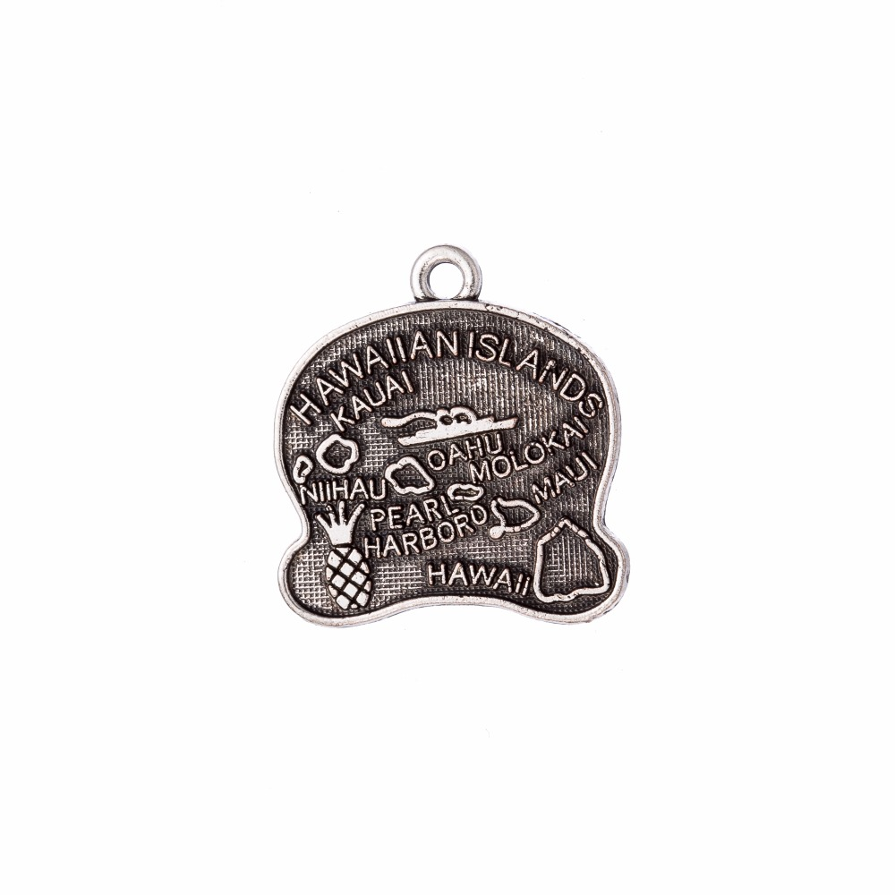my shape Hawaii State Map Antique Charm Travelling Pendant DIY Jewelry For Holiday 20Pcs 20*21mm
