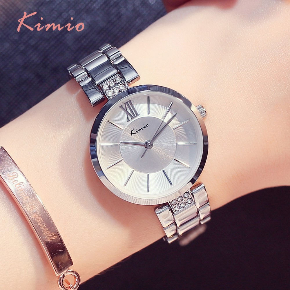 KIMIO Simple Thin Rhinestone Rose Guldkvartsure Women Fashion 2018 - Dameure - Foto 4