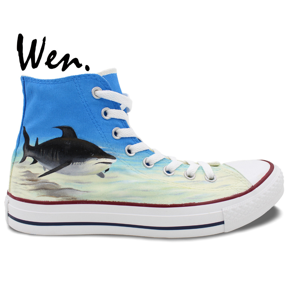 Wen Blue Hand Painted Shoes Design Custom Shark In Blue Sea High Top Men Women's Canvas Sneakers for Birthday Gifts wen customed hand painted shoes canvas the beatles high top women men s sneakers black daily trip shoes special christmas gifts