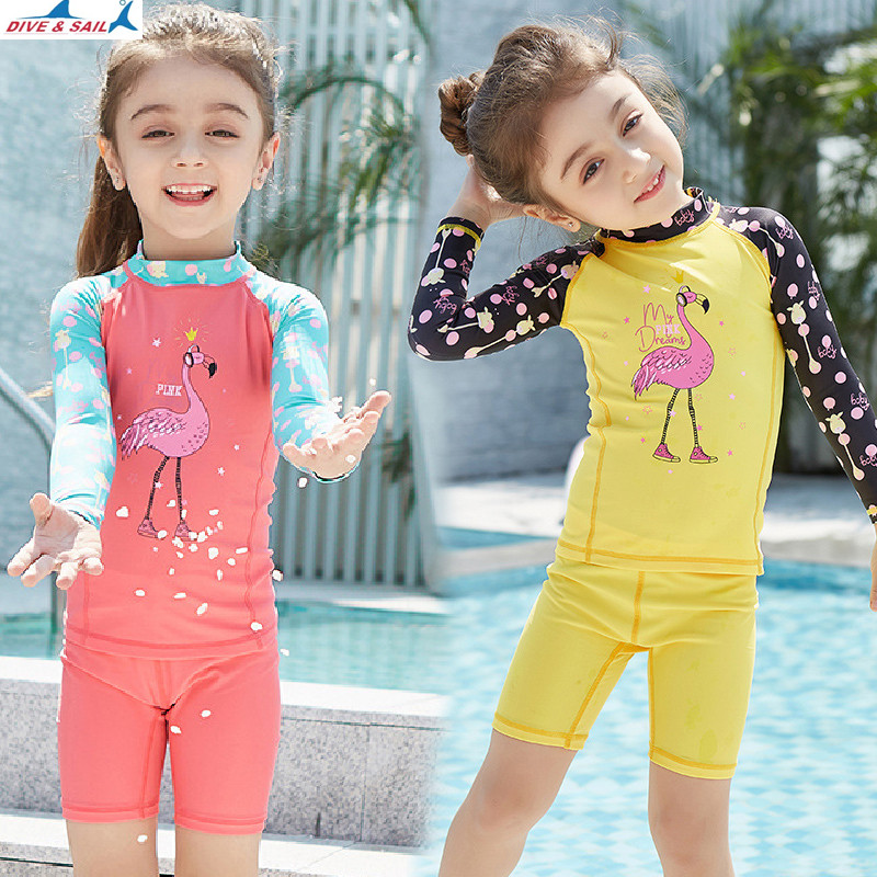 Kid's Summer Rash Guards Girls Two-pieces Long Sleeve Swimwear UV Protection UPF 50 For Children Surf Swimmging Beach Swimsuit