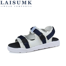 LAISUMK Men Sandals PU Split Leather Beach Brand Casual Shoes Flip Flops Slippers Sneakers Summer