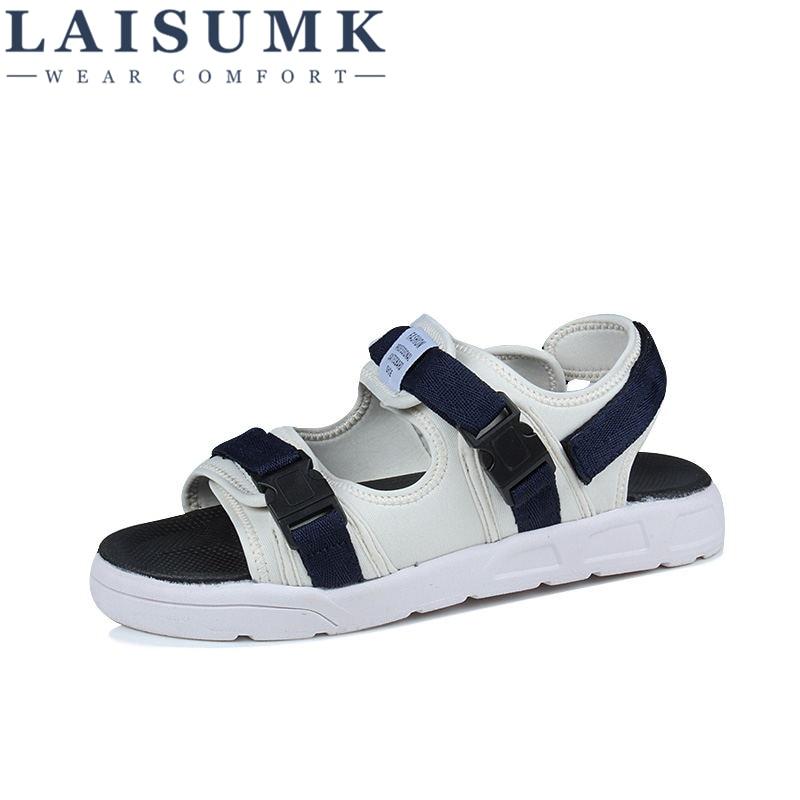 LAISUMK Men Sandals PU Split Leather Men Beach Sandals Brand Men Casual Shoes Flip Flops Men Slippers Sneakers Summer Shoes