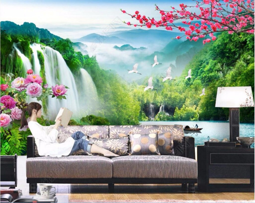 compare prices on waterfall wallpaper online shopping buy low 3d wall murals wallpaper for walls 3 d wallpaper chinese landscape waterfall flower room decor custom