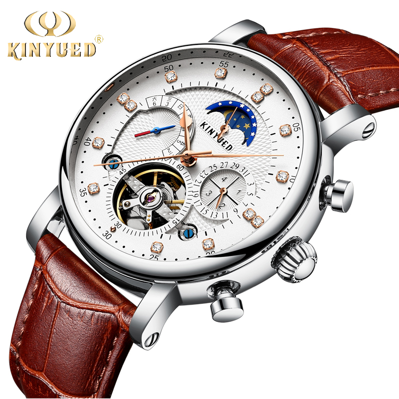 KINYUED 2018 Men Automatic Mechanical Watch Tourbillon Top Brand Genuine Leather Mens Watches Multifunctional Moon Phase Hours цена и фото