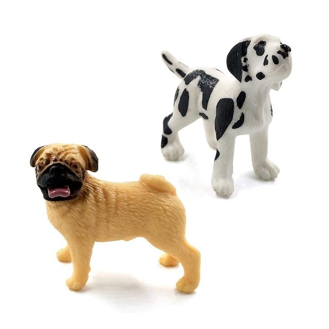 Simulation Mini hound dalmatian pug dog miniature figurine animal Model home decor fairy garden decoration accessories modern 6