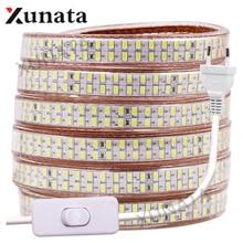 5730 Led Strip 220V 110V Waterproof Warm White/White 240Leds/m Double Row Flex Ribbon Tape LED Stripe With Switch EU/US/UK