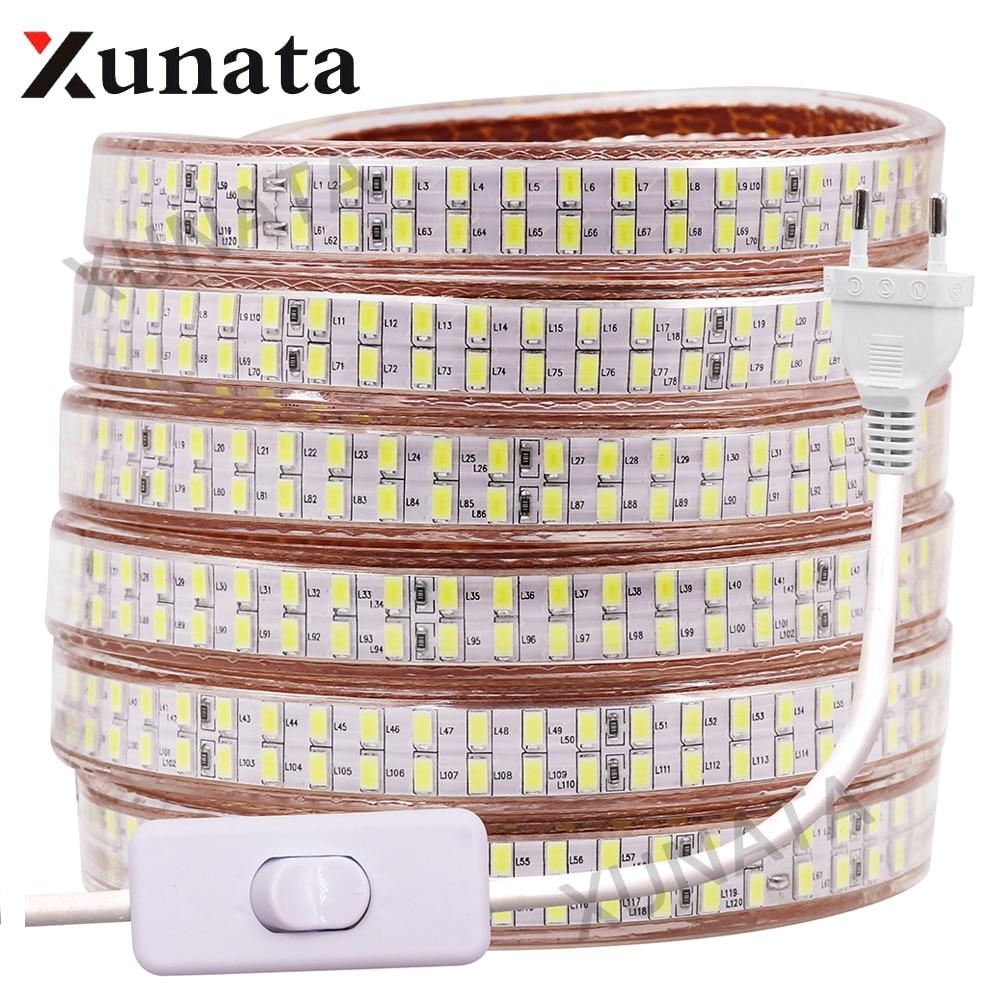 EU/US/UK 110V 220V 240Leds/m Double Row 5730 Led Strip Light Warm White/White Waterproof Flex Ribbon Tape LED Stripe With Switch