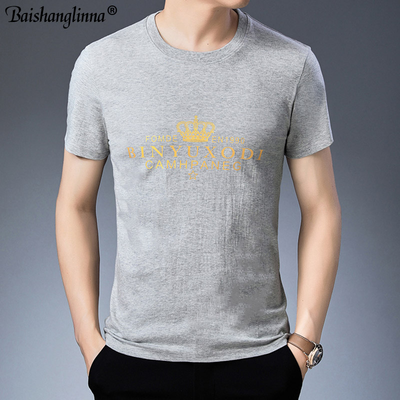 Baishanglinna Spring Summer Short Sleeve Tee Shirt Men Casual O-Neck T-Shirt Men Pure Cotton Top Homme Brand Clothing S - XXXXL 2