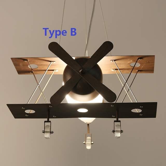 Online Shop vintage Iron Plane Kids Pendant Light Fixtures ...