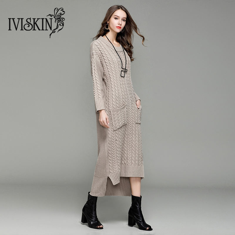 2017 Autumn New Knit Dress Women Classic premium Qualit Individuality Wavy Patter Sweater Dress With Pocket Female