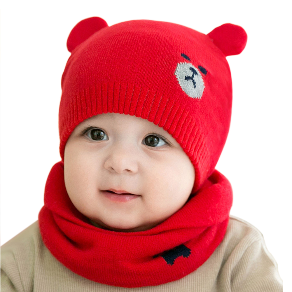 Cute Winter Caps Scarf Suits Warm Knitted Beanie Cap Cute Cartoon Bear Beanie FS99