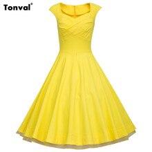 Tonval 2017 Женщины Желтый 3XL Dress Плюс Размер Цветочные Старинные Горошек Рокабилли 1950 s 60 s Свинг Туника Летом сетки Платья