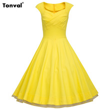 Tonval 2017 Women Yellow Rockabilly 3XL Dress Plus Size Floral Vintage Polka Dot 1950s 60s Tunic Swing Summer Mesh Dresses