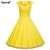 Tonval Women Summer Rockabilly Style Swing Dress Plus Size Sexy Vintage Party Floral Print Polka Dot