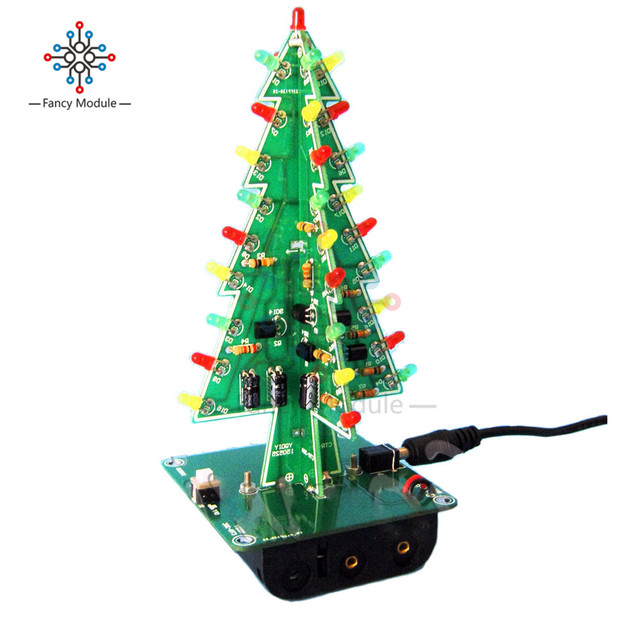 three dimensional 3d christmas tree led diy kit red green yellow led