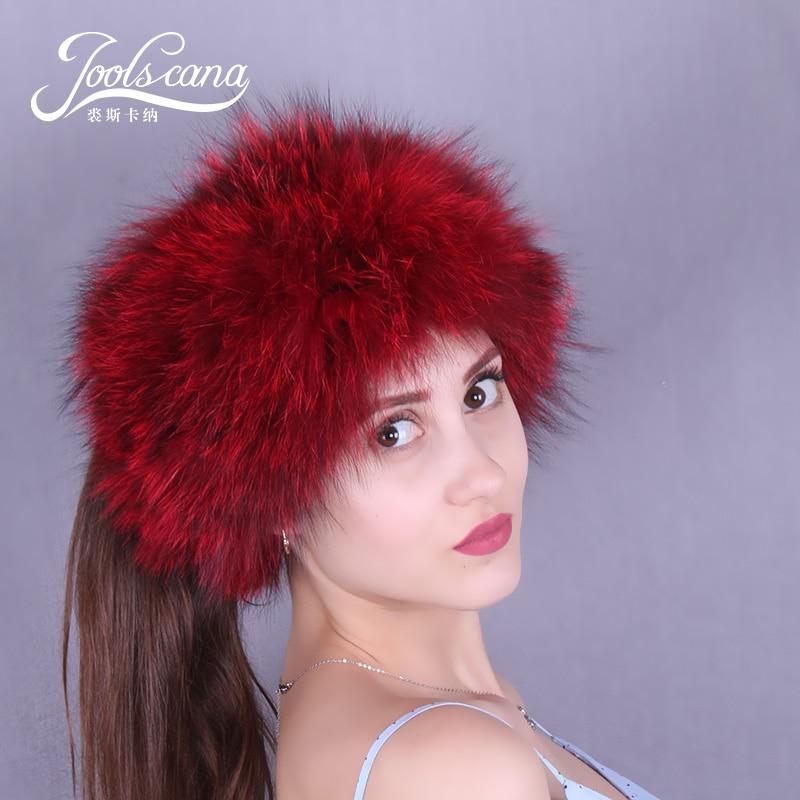 JOOLSCANA véritable écharpe de fourrure pour les femmes hiver écharpe tête foulards anneau chapeau réel fourrure de raton laveur anneau deux styles