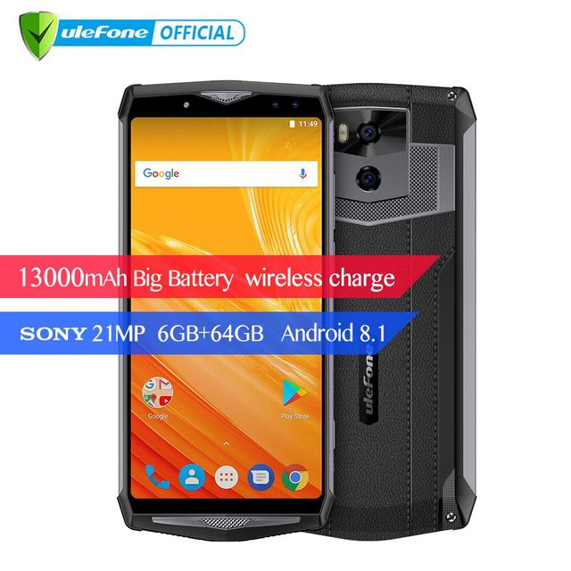 """Ulefone Potenza 5 Del Telefono Mobile Android 8.1 13000 mAh 6.0 """"FHD MTK6763 Octa Core 6 GB + 64 GB 21MP di carica Wireless Viso ID 4G Smartphone"""