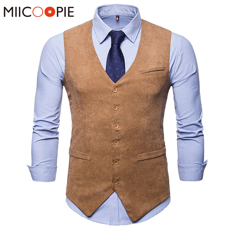 Mens Corduroy Suit Vest 2018 Mens Foramal Weeding Dress Vests Waistcoat Men Gilet  Business Wedding Tuxedo Vest Colete Masculino