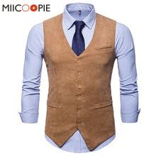 Mens Corduroy Suit Vest 2018 Mens Foramal Weeding Dress Vests Waistcoat Men Gilet Business Wedding Tuxedo Vest Colete Masculino