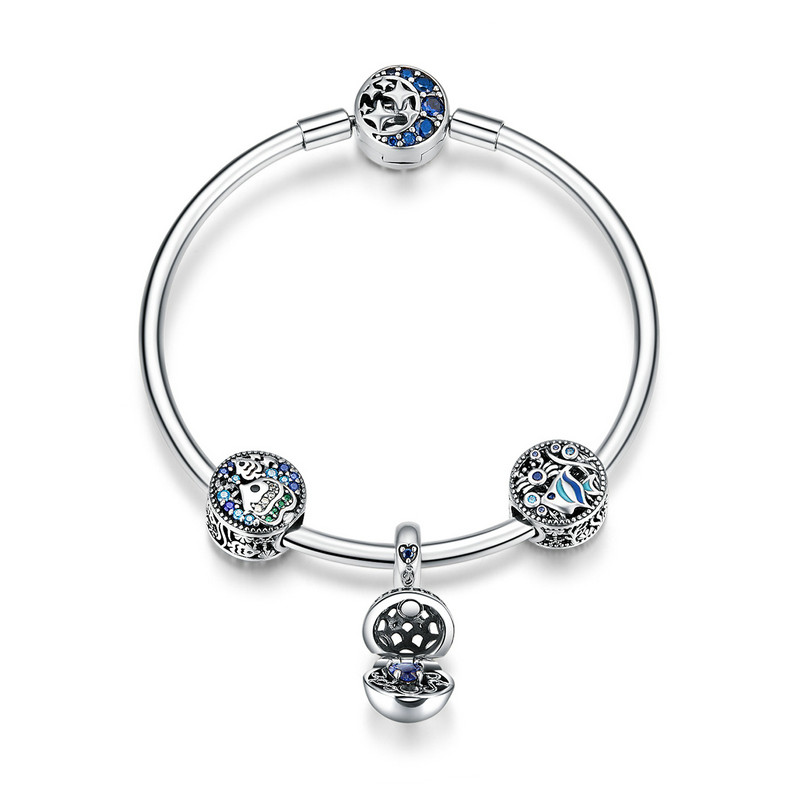 ABAY Real 925 argent Sterling poisson Tropical océan charme bracelets pour femme cadeau lune étoile bleu Bracelet & Bracelet bijoux