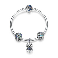 SNS Real 925 Sterling Silver Tropical Fish Ocean Charm Bracelets for Women Gift Moon Star Blue Bracelet & Bangle Jewelry