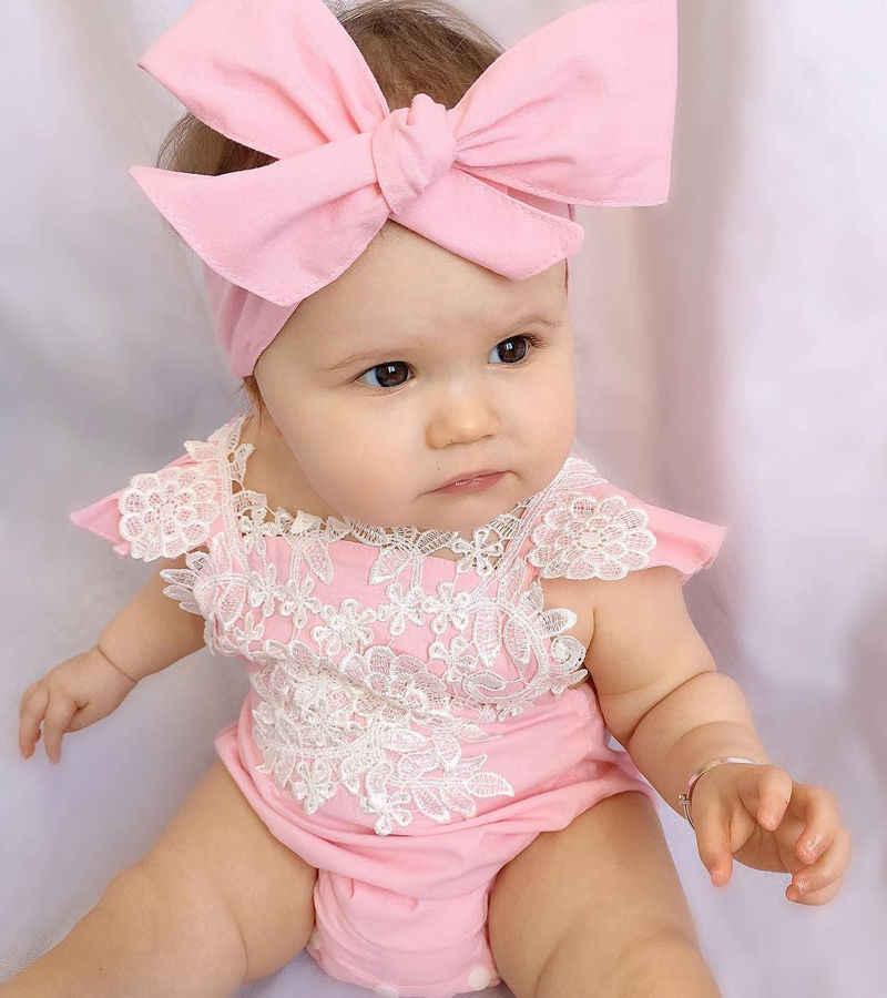 2017Newฤดูร้อนแฟชั่นน่ารักน่ารักทารกเด็กสาวลูกไม้สีชมพูผ้าฝ้ายแขนสั้นลายดอกไม้J Umpsuitชุดหมีคาดศีรษะชุดชุด