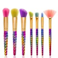 DE'LANCI 7Pcs Makeup Brushes Set Rainbow hair Cosmetic Powder Blush Fondation Foundation Fan Brush New Makeup Brush Kits