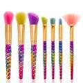 De'lanci 7 pcs pincéis de maquiagem set rainbow cabelo cosméticos blush em pó fundação escova fã escova nova maquiagem kits fondation
