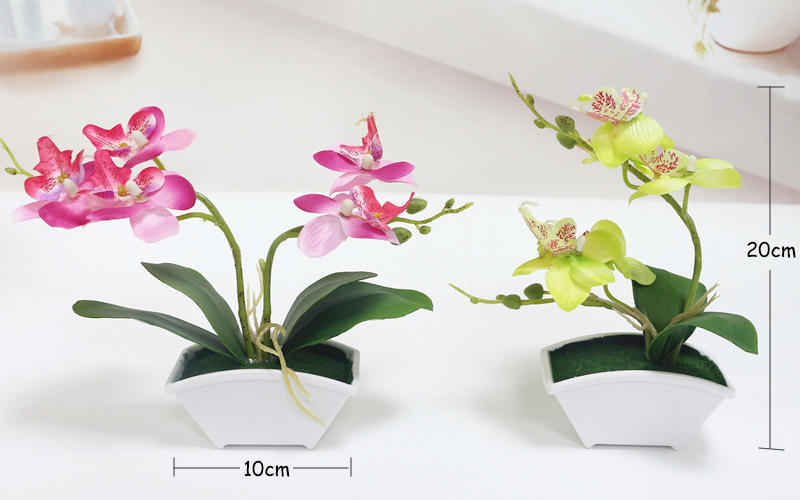 small artificial butterfly orchid flower set with real touch leaves artificial plants overall floral for wedding (222)