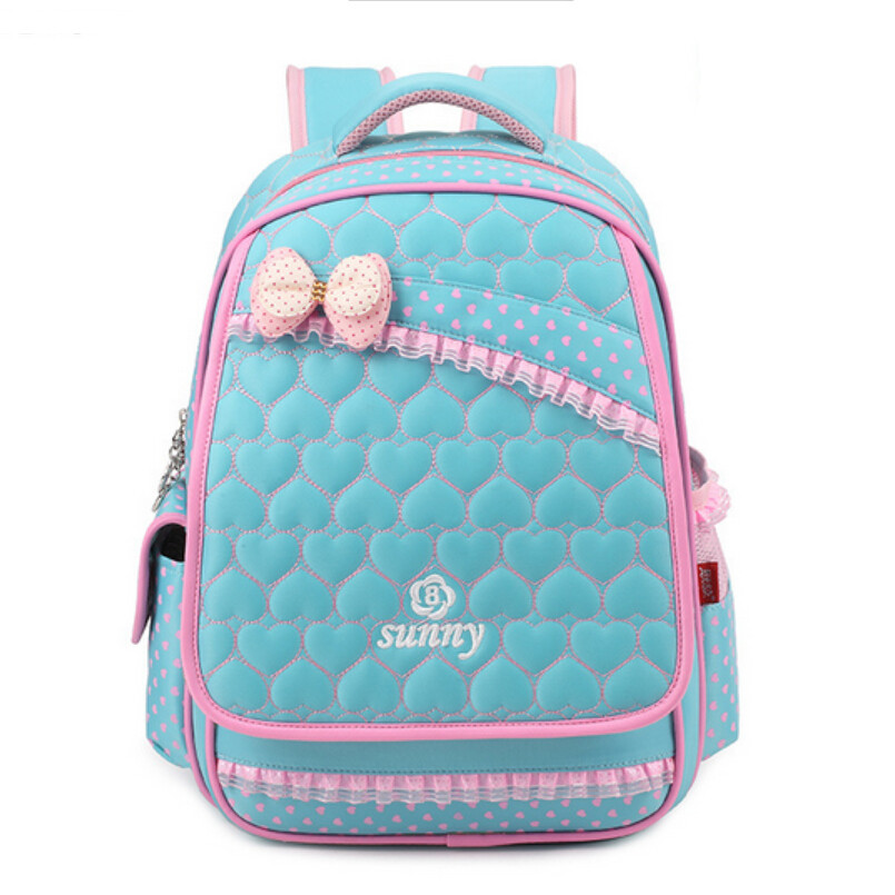 Cute girl school backpack korean style girls book bags pink bow ...