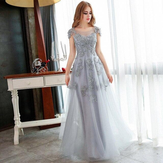 Vestidos largos de noche 2017 caliente plata gris encaje bordado vestido de  fiesta Banquete nupcial elegante 6192ecf39671