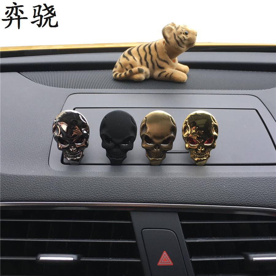 A metal skull of <font><b>4</b></font> colors Automobile styling Perfume clip Lady Metal Skull Automobile styling Ornament Air Freshener decorate image
