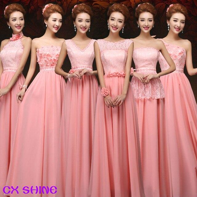 CX SHINE 6 Style Long Lace Chiffon Bridesmaid Dresses Sky Blue Purple Pink Wedding Dress