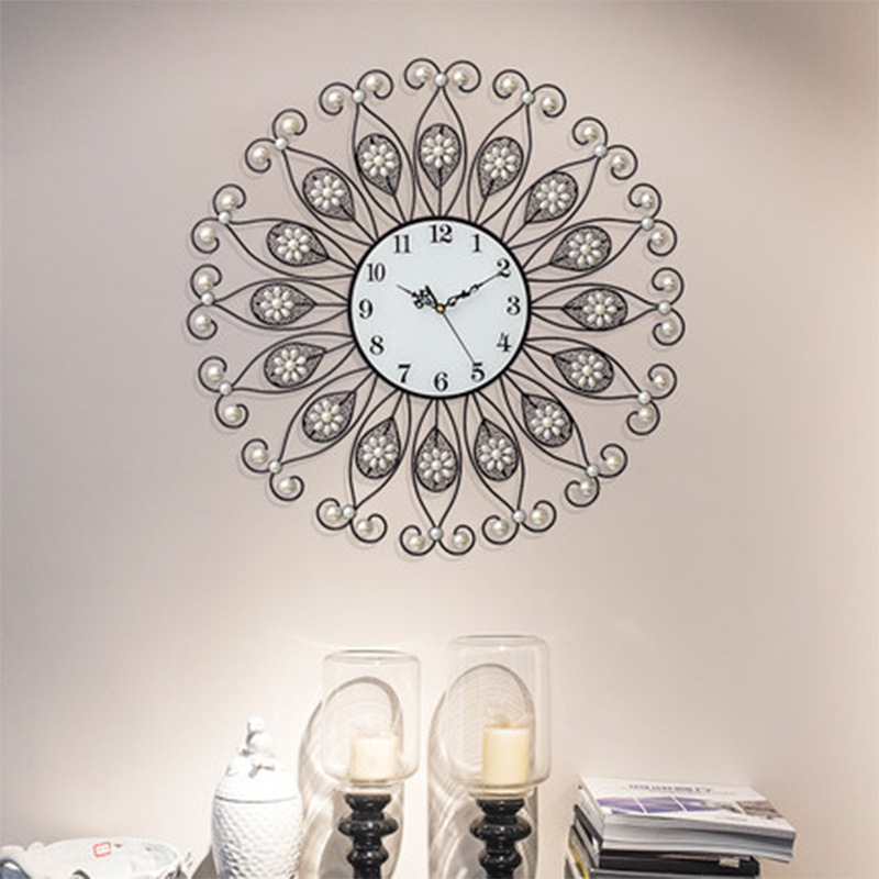 Heat! European Creative Wrought Iron DIY Diamond Wall Clock Mute Living Room Clock Modern Home Fashion Decorative Quartz Clock