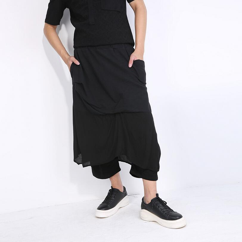 Europe and the United States spring and summer fashion casual false two pieces stitching large size black men's pants / one size