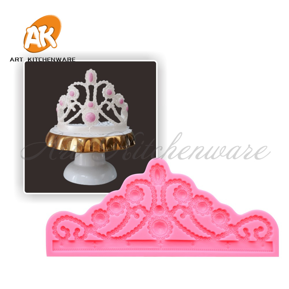 Big Relief Crown Cake Molds Food Grade Frame Silicone Mold Fondant Cake Decorating Tool Kitchen Baking Tool Chocolate Soap Mould