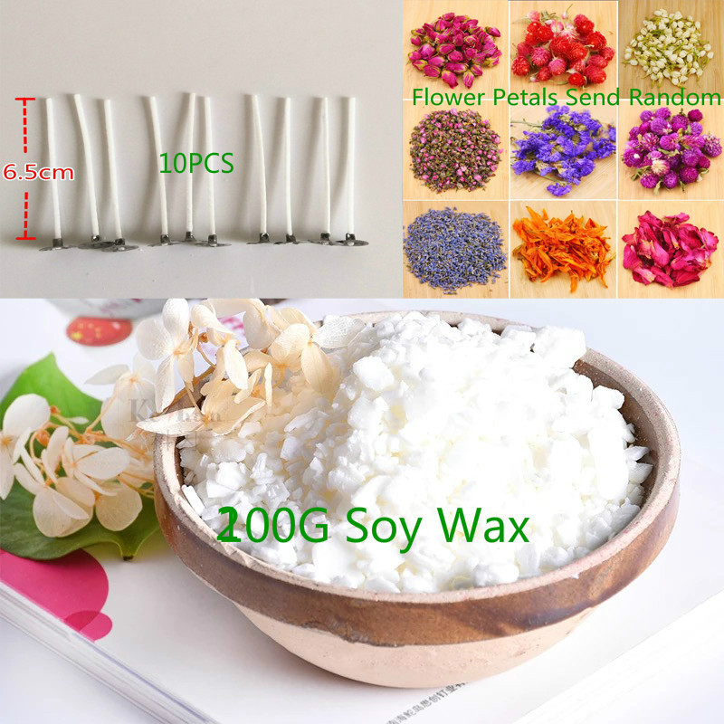 10PCS Candle Wick+200g Natural Soy Wax+Mini Dry Flower