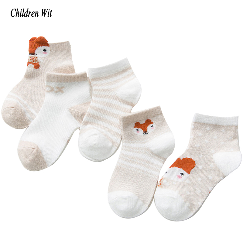 2019 New Spring&Summer Children Socks Mesh Breathable Cotton Cartoon Animals Boys Socks Girls Socks 1-12 Year Kids Socks 5 Pairs