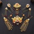 Estilo chino Hecho A Mano Headwear Crystal Sistemas de La Joyería Nupcial Accesorios Para el Cabello Tocado de Boda Chapado en oro Pendientes de Jade Blanco