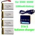 Сыма X5HC X5HW 3.7 В липо Батареи 1200 мАч Оригинальные Запасные Части дополнительные Bateria липо для bateria 5в1 Ac USB Баланс зарядное устройство
