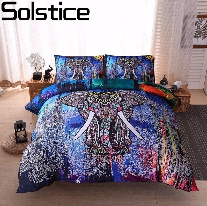 Solstice Home Textile Bohemian Elephant Print Style 3/4pcs Bedding Set Duvet Cover Bed Sheet Pillowcase Bedlinen Queen King Size