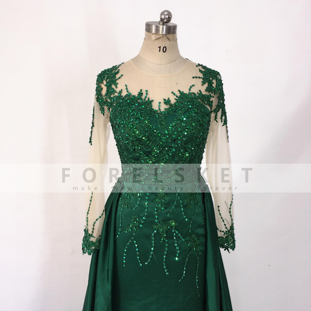 Long Sleeves Satin Mermaid Prom Dresses Green 2020 Engagement Celebration Saudi Arabia Beaded Lace Formal Evening party Gowns 4