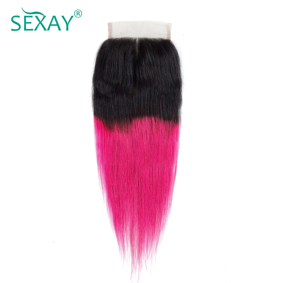 Sexay Ombre Lace Closures Pre-colored Non-Remy Human Hair 1B/Pink Ombre Brazilian Straight Hair 4x4 Closures With Baby Hair