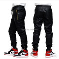 Mens fall fashion negro basculador pantalones joggers mens grandes y altos pantalones de cuero de imitación de cuero para los hombres