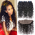 Ear to Ear Lace Frontal Closure With Bundles 4 Bundles Brazilian Water Wave Virgin Hair With Closure Wet And Wavy Human Hair