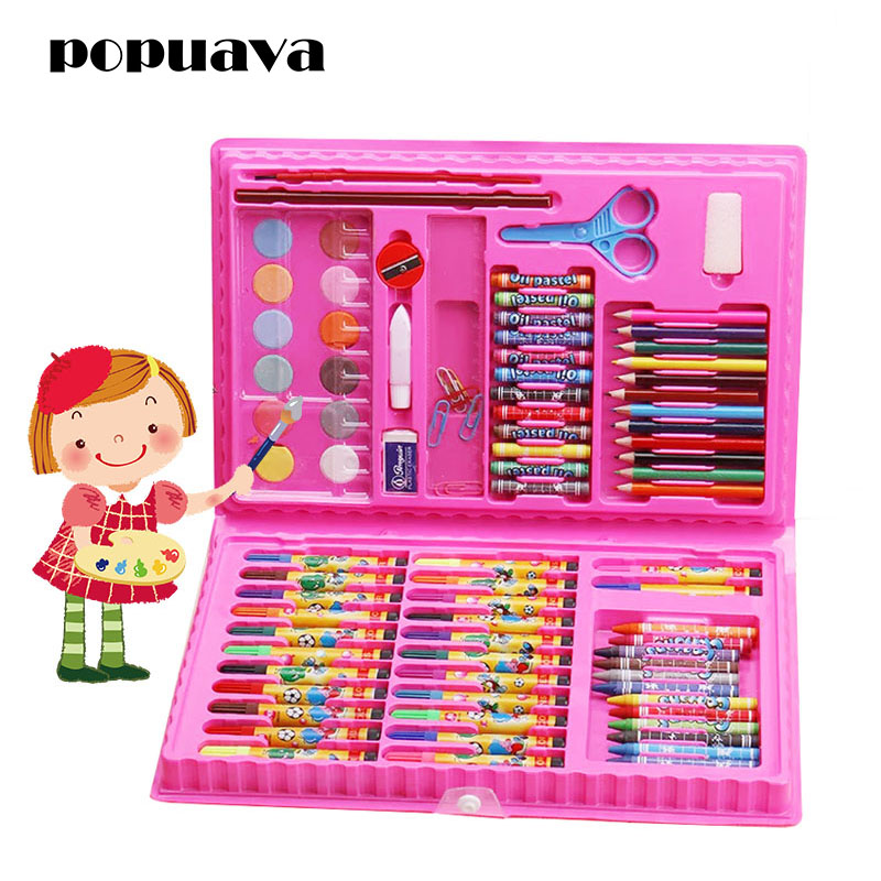 86pcs color crayon crayon drawing stationery set tools for childrens gifts drawing puzzle toys