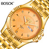 BOSCK Top Luxury Gold Full Stainless Steel Watch Golden Band Quartz Wrist Watch Mens Famous Brand