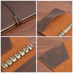 Image 5 - Handmade Vintage Leather Diary Notebook A5 Personal A7 Ring Binder Sketchbook For Travel Journal, business, school supplies